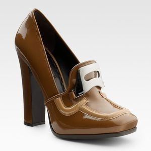 Prada Patent Leather Heeled Loafers